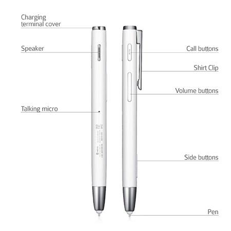 Câu tạo bên ngoài chiếc tai nghe Bluetooth hình cây bút Samsung HM5100