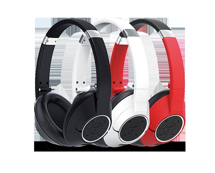 Tai nghe bluetooth HS-930BT hiệu Genius được thiết kế với ba màu sắc trăng, đen, đỏ.